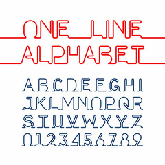 One line alphabet and numbers. One single continuous line font