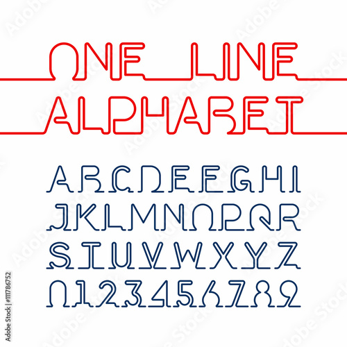 One line alphabet and numbers  One single continuous line