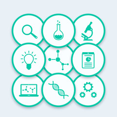 Science icons, research, laboratory, microscope, dna chain, lab glass, science pictograms, vector illustration