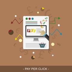 Pay per click. Vector web design.