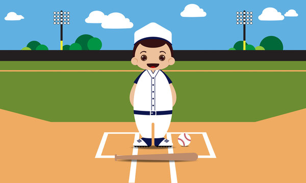 Baseball field baseball player vector illustration