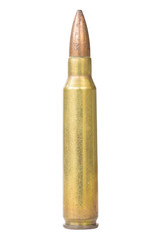 Old bullet with clipping path on white background.