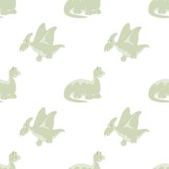 Seamless white background. Dinosaurs