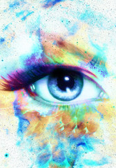 Woman Eye and abstract color background, eye contact.