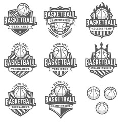 greyscale Vector Basketball logos