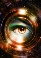 Woman eye and cosmic space, with light circle. Sepia color.
