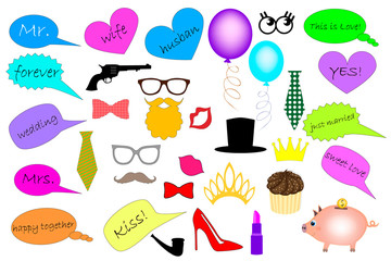 Wedding photobooth. Elements for party props. Mask. Speech clouds. Mustaches, lips, eyeglasses, crown, beard, hat, tie silhouettes and design elements for party props isolated on white background.