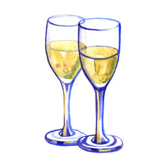 Watercolor two glasses with champagne