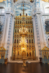 the Iconostasis of the Resurrection cathedral of the Voskresensky New-Jerusalem stavropegial male monastery, Istra, Moscow region, Russia.