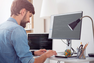 Man programming on the computer