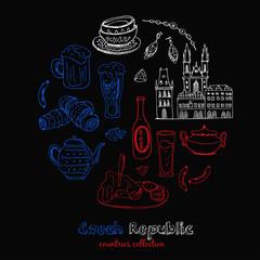 Hand drawn doodle Czech Republic travel set.