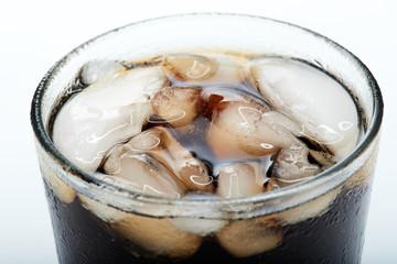 glass of black soda
