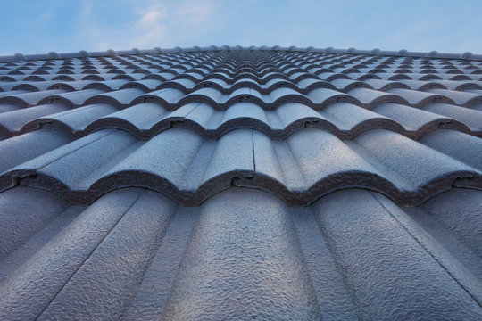 tile roof with blue sky