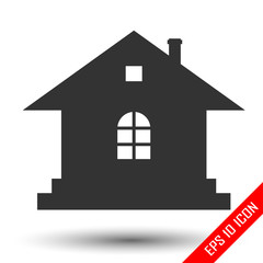 Home icon. Flat logo of house. Home vector picture.