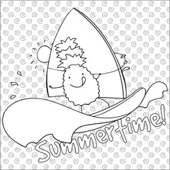 Pineapple windsurfing summertime coloring book page vector illustration.