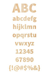 alphabet and punctuation with wood texture on white background.