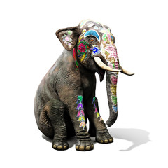 Colorful decorated elephant with large tradition in India sitting down with a isolated white background. 3d rendering