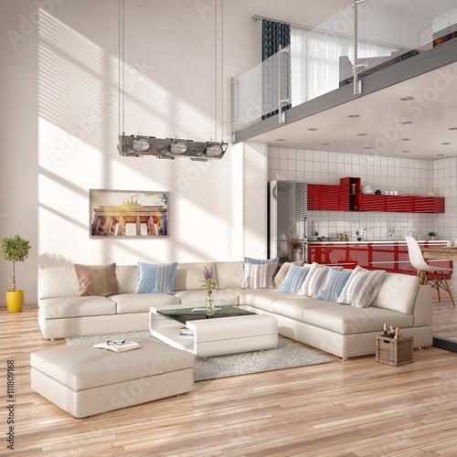 Minimalistisch modern eingerichtetes loft mit wohnzimmer k c zdj stockowych i obraz w - Wohnzimmer minimalistisch ...