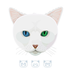 Cartoon cat with different colored eyes. Vector Illustration.