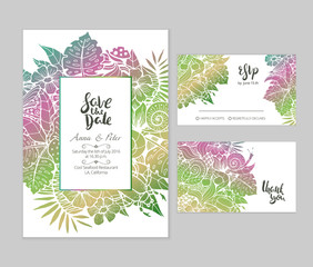 Beautiful wedding set with summer floral illustration and hand lettered phrases. Bright gradient text templates for creative wedding prints.