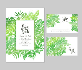 Beautiful wedding set with tropical palm leaves illustration and hand lettered phrases. Bright gradient text templates for creative wedding prints.