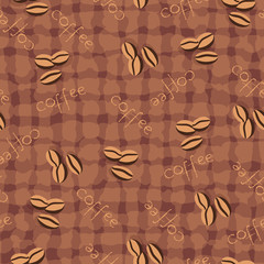 Beige seamless background with scattering of coffee beans and lettering. Seamless coffee pattern in pale beige colors.
