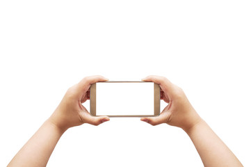Hand with smart phone white screen, Clipping path