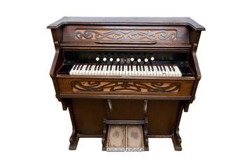 Harmonium. Pump organ, isolated on white