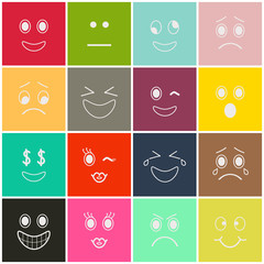 Set of Smiles on Color Background. Emoji icons. EPS10.