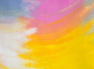 """Gemälde """"Glück"""" (Ausschnitt) von Carola Vahldiek (Gouache-Farben auf Papier), Hintergrund in Blau, Orange, Pink, Weiß und Gelb"""