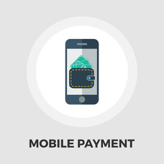 Mobile payment icon flat