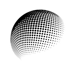halftone globe, sphere vector logo symbol, icon, design. abstract dotted globe illustration isolated on background.