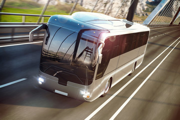 Realistic image of grey bus on the road. Business Travel Concept. Road bridge 3D rendering