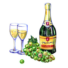 Watercolor bottle of champagne, two glasses and green grape