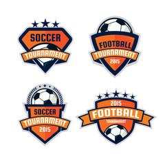 set of football logo design , soccer  shield , vector illustrati