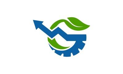 green leaf logo gear icon
