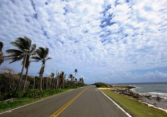 road along the tropical sea beach