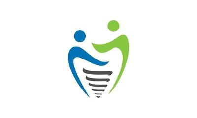 dental implant people vector logo