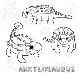 Dinosaur Ankylosaurus Cartoon Vector Illustration Monochrome
