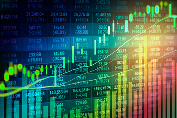 Financial data on a monitor,candle stick graph of stock market ,