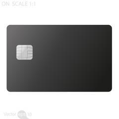 Black credit card on white background