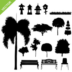set of silhouette tree and garden vector