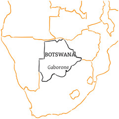 Botswana hand-drawn sketch map
