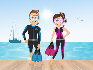 couple go diving
