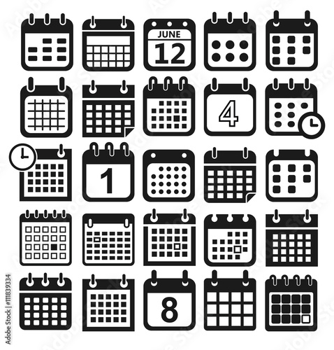 Calendar Web Icon : Quot calendar icons for web design symbol flat