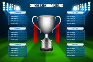Soccer Champions Final Scoreboard Template, Vector
