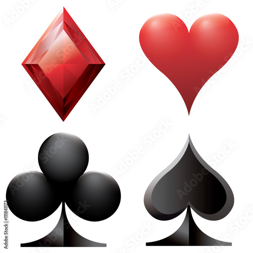 Set Of Poker Casino 52 Card Game 3d Vector Symbols Red Heart Red