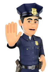 3D Policeman ordered to stop with hand