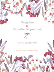 Background, template postcard with a floral ornament of the watercolor purple branches and red berries, hand drawn in a pastel on a white background, background for your card and work