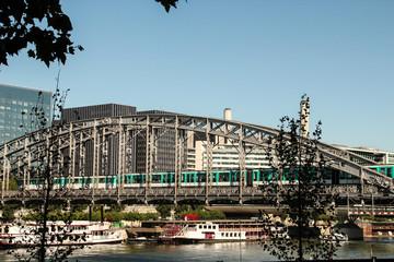 Austerlitz Viaduct with a metro train over the Seine River in Paris